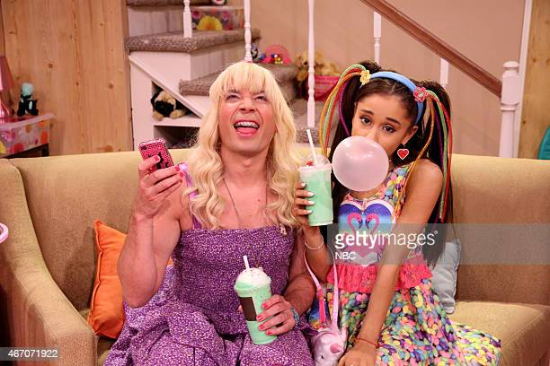 Host Jimmy Fallon and singer Ariana Grande during the Ew skit on March 20 2015