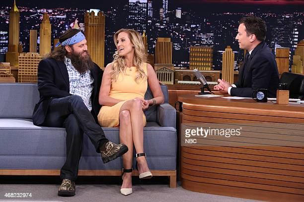 Television personalities Willie Robertson and Korie Robertson during an interview with host Jimmy Fallon on March 31 2015