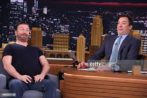 Actor Ricky Gervais during an interview with host Jimmy Fallon on April 3 2015