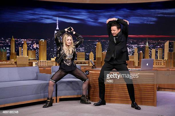 Madonna during an interview with host Jimmy Fallon on April 9 2015