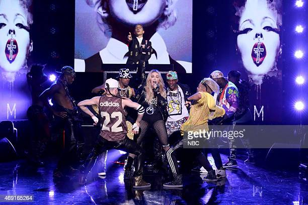 Musical guest Madonna performs with Diplo on April 9 2015