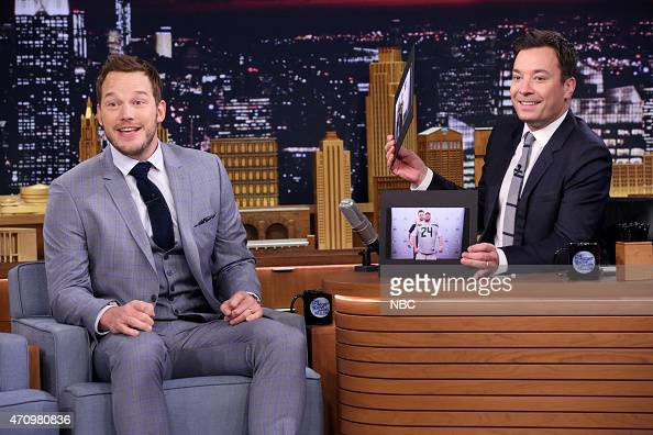 Actor Chris Pratt during an interview with host Jimmy Fallon on April 24 2015
