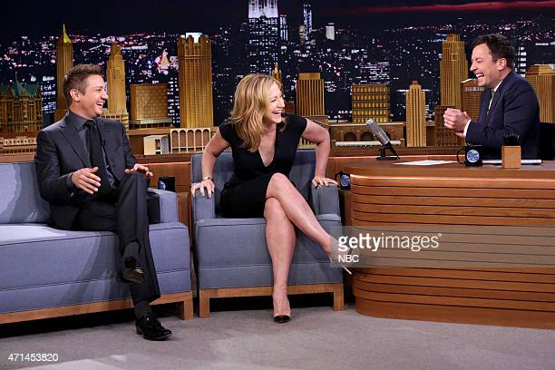 Actor Jeremy Renner and actress Edie Falco during an interview with host Jimmy Fallon on April 28 2015