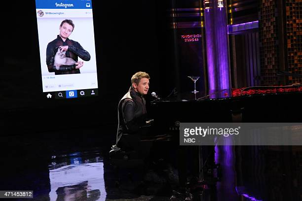 Actor Jeremy Renner during the 'Hawkeye Sings' bit on April 28 2015