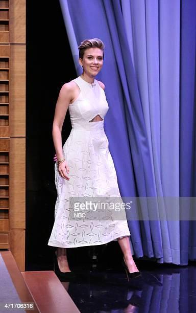 Scarlett Johansson and host Jimmy Fallon on April 30 2015