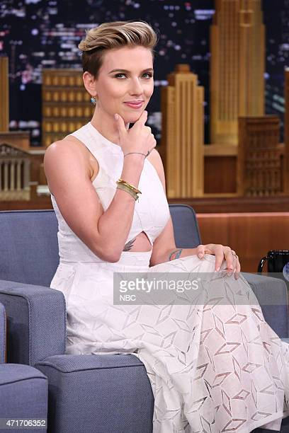 Scarlett Johansson and host Jimmy Fallon on April 30 2015