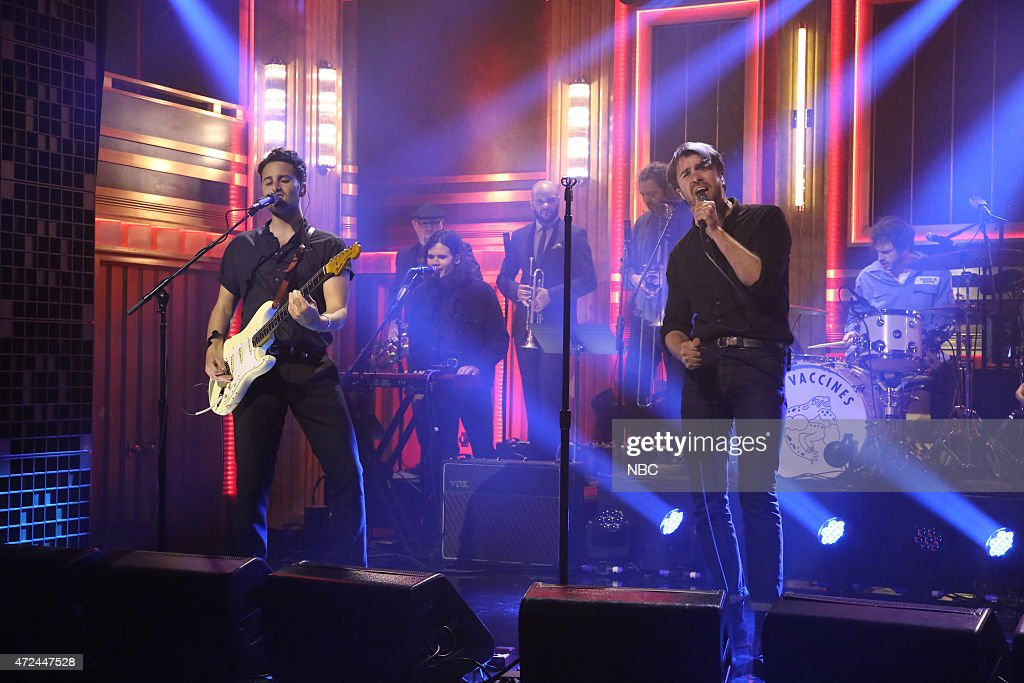 Freddie Cowan Justin HaywardYoung and Pete Robertson of musical guest The Vaccines perform on May 7 2015