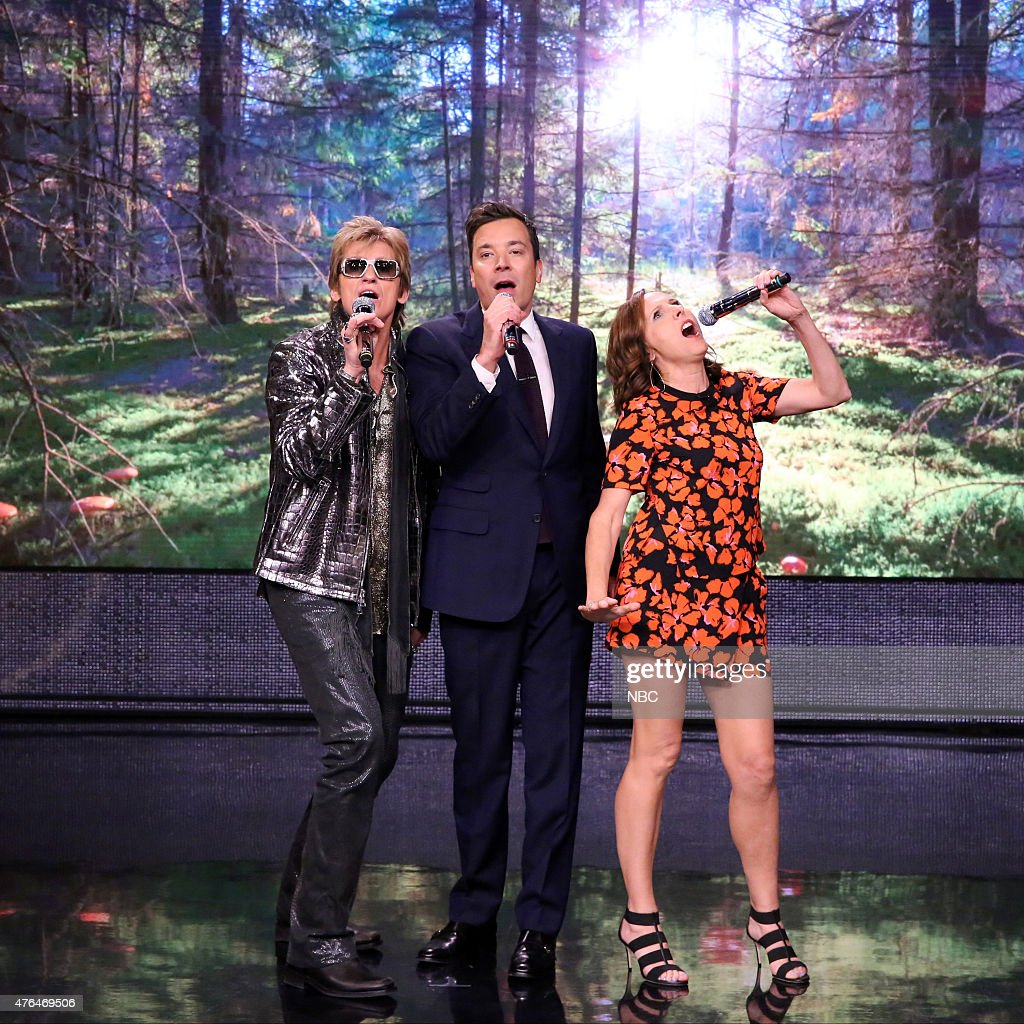 Actor Denis Leary host Jimmy Fallon and actress Molly Shannon sing Nonsense Karaoke on June 9 2015