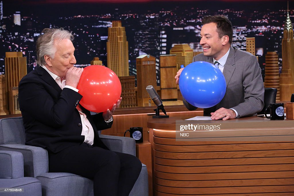 Actor Alan Rickman during an interview with host Jimmy Fallon on June 17 2015