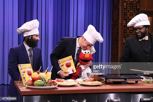 Actor Jason Schwartzman host Jimmy Fallon Elmo and Ahmir 'Questlove' Thompson during a cooking demonstration on June 18 2015