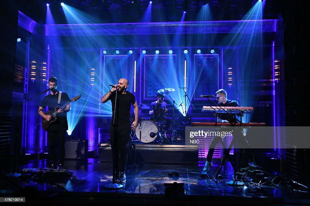Noah Feldshuh Sam Harris Adam Levin and Casey Harris of musical guest X Ambassadors perform on June 23 2015