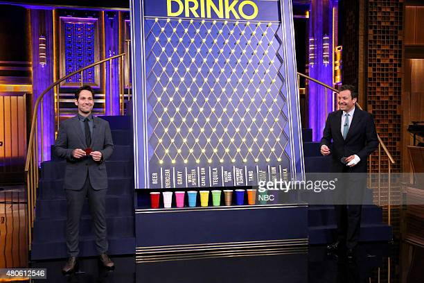 Actor Paul Rudd plays 'Drinko' with host Jimmy Fallon on July 13 2015