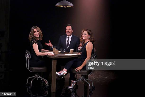 Actress Tina Fey host Jimmy Fallon and actress Amy Poehler play 'True Confessions' on July 14 2015