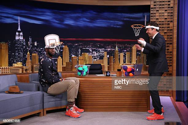 Professional basketball player LeBron James plays 'Faceketball' with host Jimmy Fallon on July 14 2015