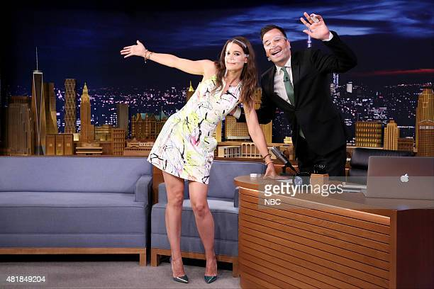 Actress Katie Holmes and host Jimmy Fallon pose after the 'Say Anything' skit on July 23 2015