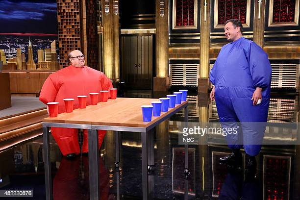 Actor Danny DeVito plays Inflatable Flip Cup with host Jimmy Fallon on July 28 2015