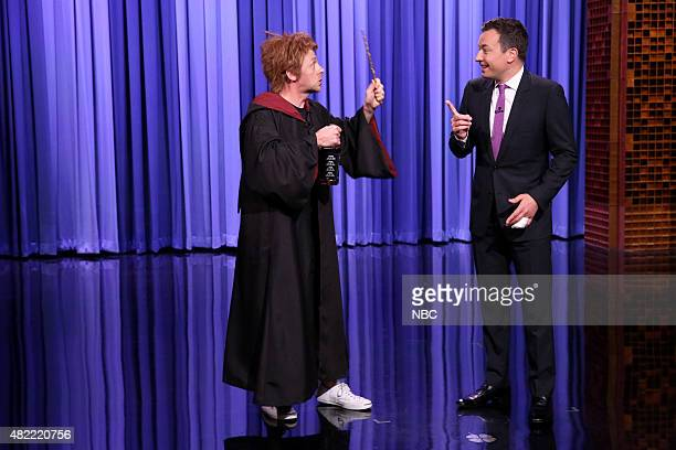 Actor Simon Pegg as drunk Ronald Weasley and host Jimmy Fallon during the monologue on July 28 2015