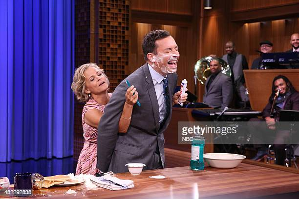 Actress Amy Sedaris during a demonstration with host Jimmy Fallon on July 29 2015