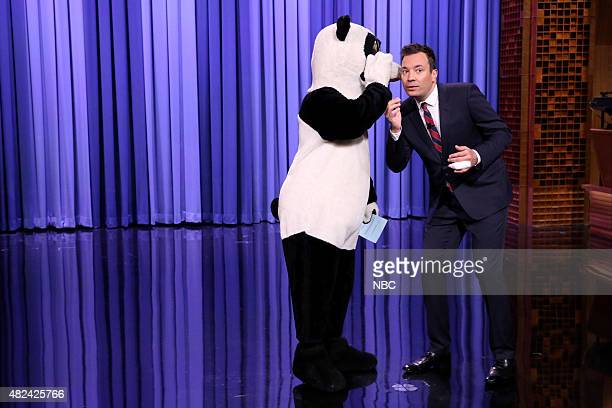 Hashtag the Panda and Jimmy Fallon during the monologue on July 30 2015