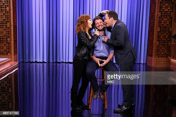 Musical guest Reba McEntire and host Jimmy Fallon during a Suggestion Box skit on August 12 2015