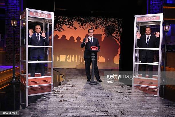 Actor Kevin Spacey announcer Steve Higgins and host Jimmy Fallon during the 'Phone Booth' game on August 14 2015