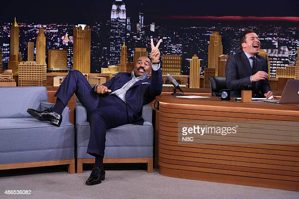 Television personality Steve Harvey during an interview with host Jimmy Fallon on September 4 2015