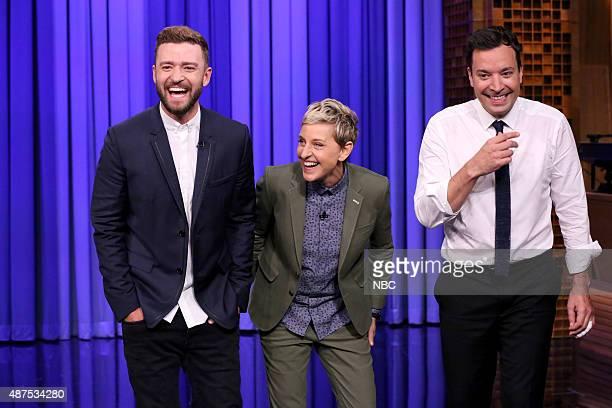 Singer Justin Timberlake television personality Ellen DeGeneres and host Jimmy Fallon on September 9 2015