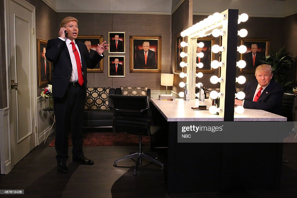 Host Jimmy Fallon and Donald Trump during the 'Trump in the Mirror' skit on September 11, 2015 --