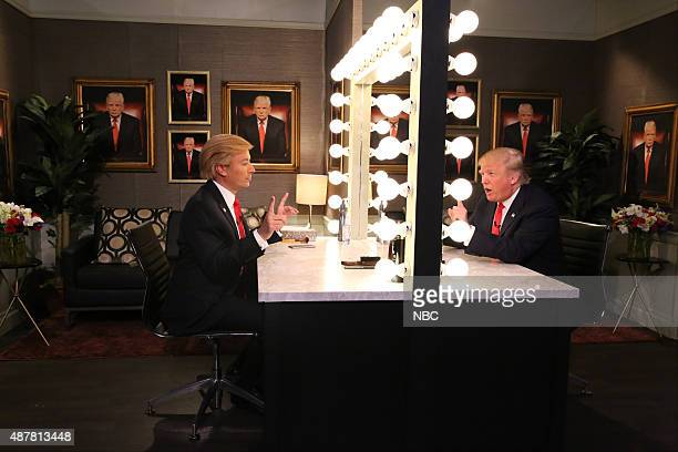 Host Jimmy Fallon and Donald Trump during the 'Trump in the Mirror' skit on September 11 2015