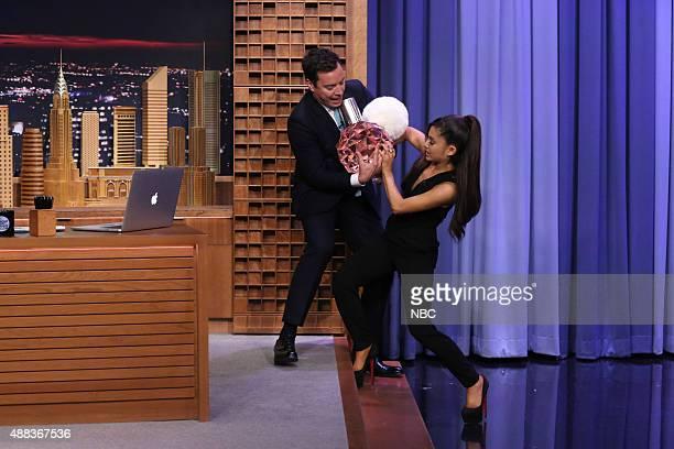Host Jimmy Fallon welcomes singer Ariana Grande on September 15 2015