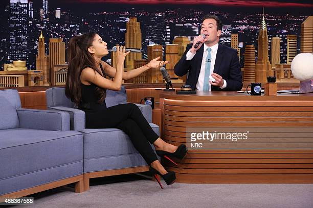 Singer Ariana Grande and host Jimmy Fallon play 'Wheel of Musical Impressions' on September 15 2015