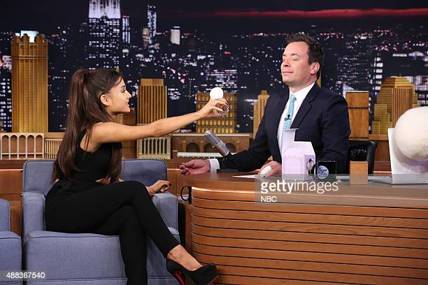 Singer Ariana Grande during an interview with host Jimmy Fallon on September 15 2015