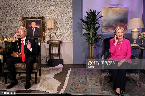 Host Jimmy Fallon as Donald Trump and Hillary Rodham Clinton during the 'Trump calls Hillary' skit on September 16 2015