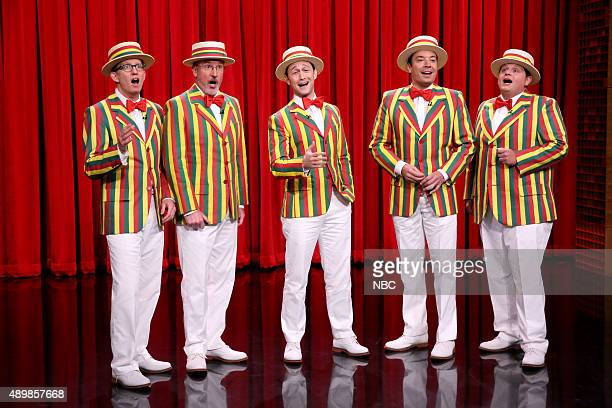 AD Miles Bob Martin actor Joseph GordonLevitt host Jimmy Fallon and Chris Tartaro perform as the 'Ragtime Gals' on September 24 2015