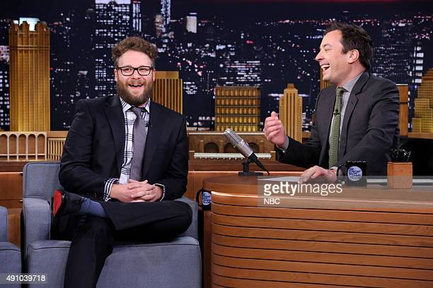 Actor Seth Rogen during an interview with host Jimmy Fallon on October 2 2015