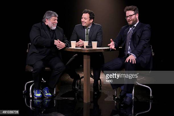 Inventor Steve Wozniak host Jimmy Fallon and actor Seth Rogen play 'True Confessions' on October 2 2015