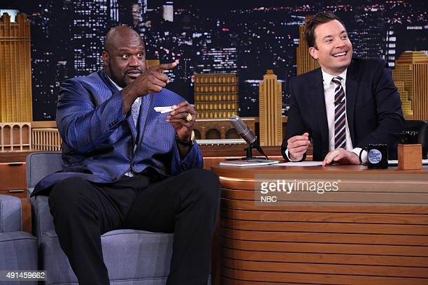 Shaquille O'Neal during an interview with host Jimmy Fallon on October 5 2015