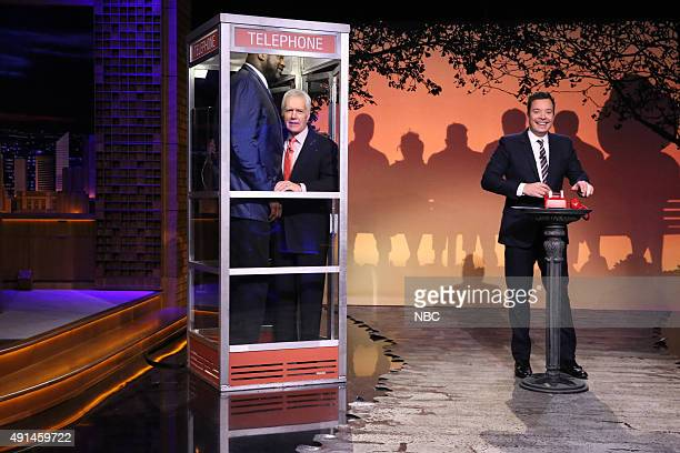 Shaquille O'Neal television personality Alex Trebek and host Jimmy Fallon during the 'Phone Booth' sketch on October 5 2015