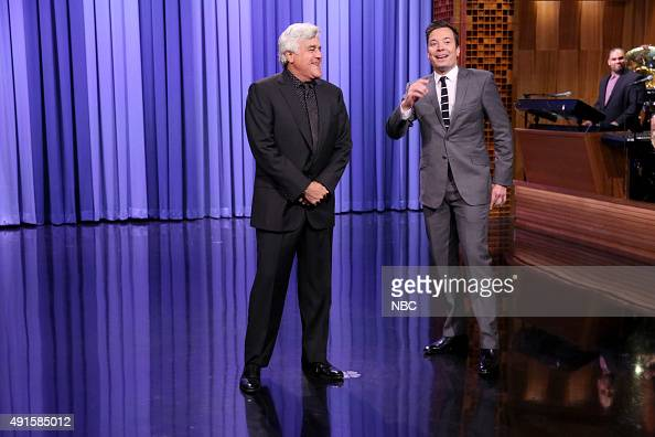 Comedian Jay Leno and host Jimmy Fallon during the monologue on October 6 2015