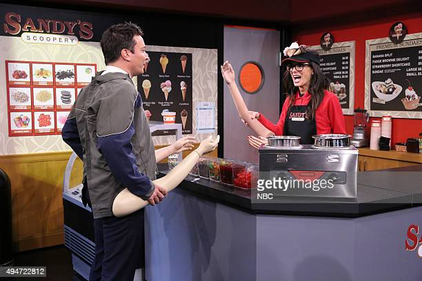 Host Jimmy Fallon and actress Sandra Bullock during the 'Fake Arms' sketch on October 28 2015