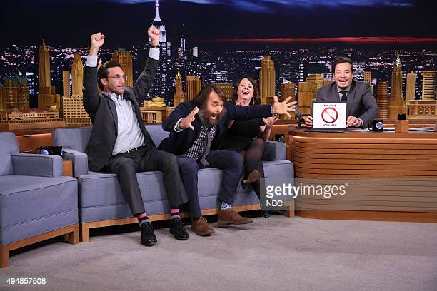 Actor Jon Hamm actor Will Forte and actress Rachel Dratch during an interview with host Jimmy Fallon on October 29 2015