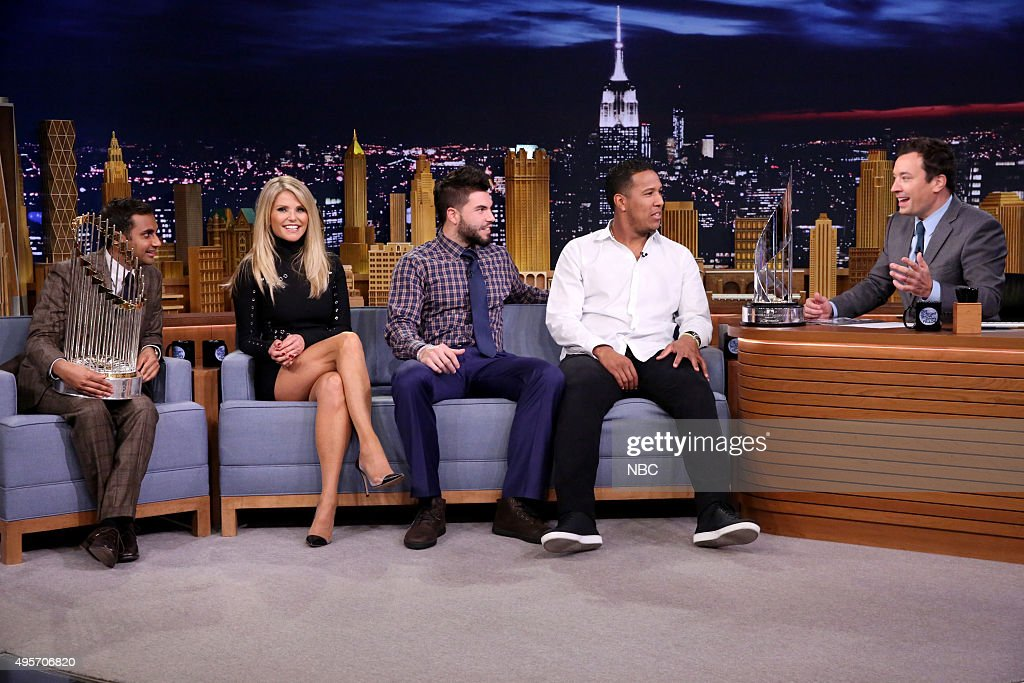Actor <a gi-track='captionPersonalityLinkClicked' href=/galleries/search?phrase=Aziz+Ansari&family=editorial&specificpeople=4266146 ng-click='$event.stopPropagation()'>Aziz Ansari</a>, model <a gi-track='captionPersonalityLinkClicked' href=/galleries/search?phrase=Christie+Brinkley&family=editorial&specificpeople=204151 ng-click='$event.stopPropagation()'>Christie Brinkley</a>, baseball player <a gi-track='captionPersonalityLinkClicked' href=/galleries/search?phrase=Eric+Hosmer&family=editorial&specificpeople=7091345 ng-click='$event.stopPropagation()'>Eric Hosmer</a>, and baseball player Salvador Pérez during an interview with host <a gi-track='captionPersonalityLinkClicked' href=/galleries/search?phrase=Jimmy+Fallon&family=editorial&specificpeople=171520 ng-click='$event.stopPropagation()'>Jimmy Fallon</a> on November 4, 2015 --