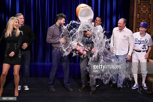 Model Christie Brinkley comedian Wayne Federman baseball player Eric Hosmer host Jimmy Fallon baseball player Salvador Pérez Bret Saberhagen and AD...