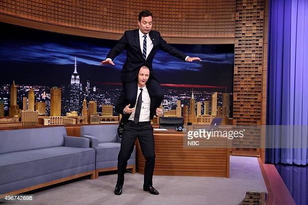 Actor James McAvoy during an interview with host Jimmy Fallon on November 11 2015