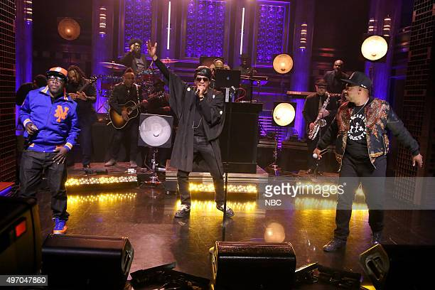 Jarobi White QTip and Phife Dawg of musical guest A Tribe Called Quest perform with The Roots on November 13 2015