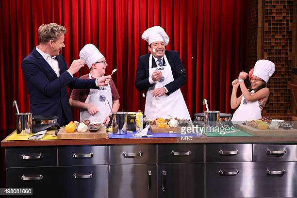 Chef Gordon Ramsay Kid Chef Nate host Jimmy Fallon and Kid Chef Amaya during the Masterchef Junior CookOff on November 20 2015