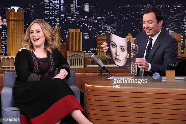 Singer Adele during an interview with host Jimmy Fallon on November 23 2015