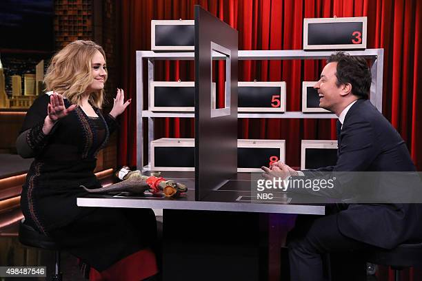 Singer Adele plays 'Box of Lies' with host Jimmy Fallon on November 23 2015