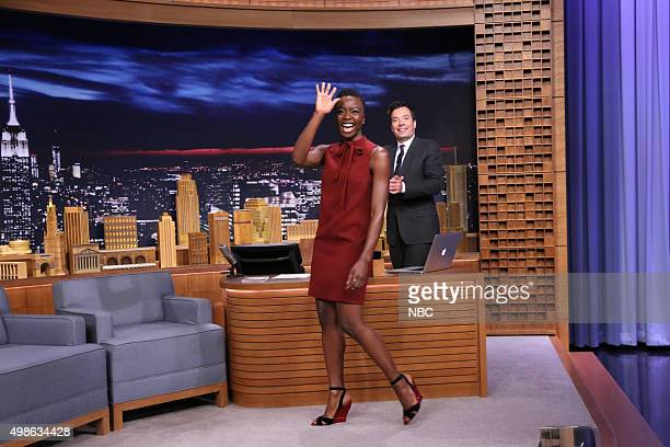 Actress Danai Gurira during an interview with host Jimmy Fallon on November 24 2015