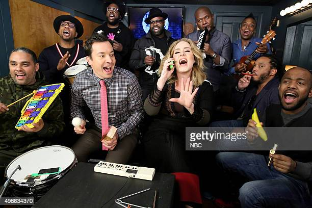 Host Jimmy Fallon and The Roots sing with Adele during the Music Room bit on November 24 2015